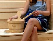 This Sauna Ladle being enjoyed in a Traditional Sauna