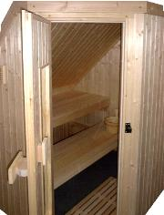 A Sauna built-in under a roof slope