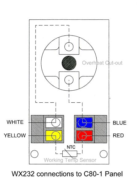 saunashop com sscp, sscp1, sscp3, c80 1, sensor, c150, sensor basic wiring diagram wx232 connections to c80 1 panel click to enlarge