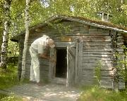 Tony may be very tall - but this old Sauna really is very low!