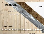 Cut-away section of Sauna Wall (lower part) showing Vapour Barrier and Joining Tape in use