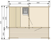 Keitele Solid-Log (2 Room) Outdoor Sauna 3.8m x 2.0m